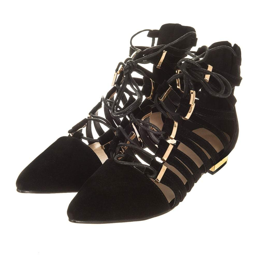 Flat Gold Trim Heel Lace Up Ghillie Shoe