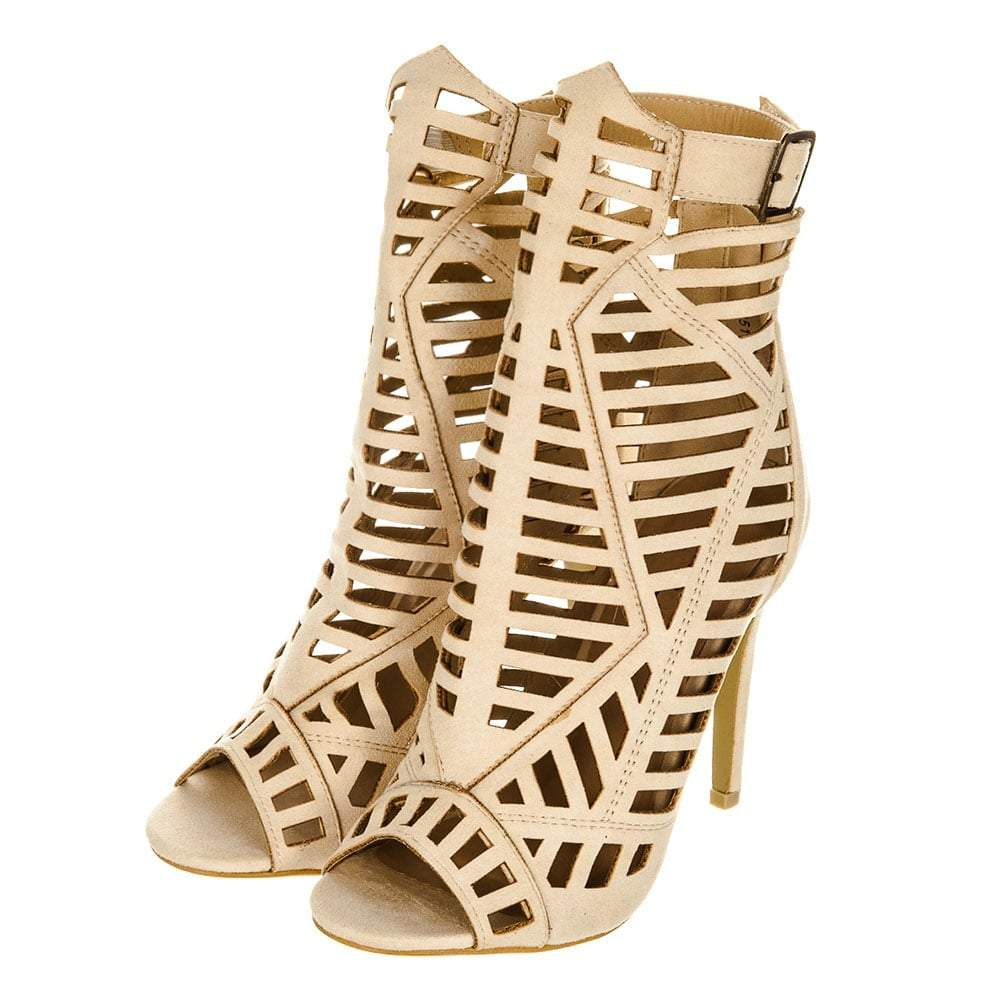 High Stiletto Heel Laser Cut Gladiator Shoes