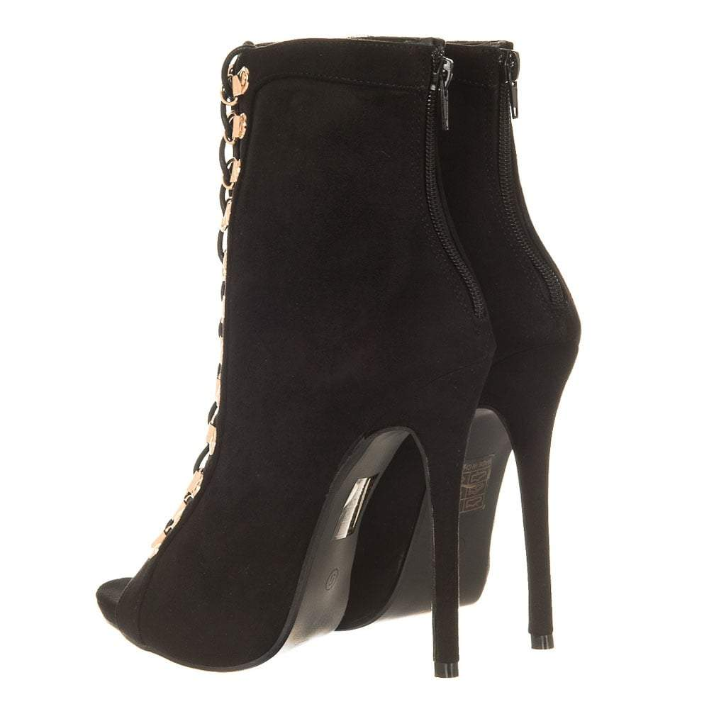 High Stiletto Heel Zip Back Open Toe Lace Ups