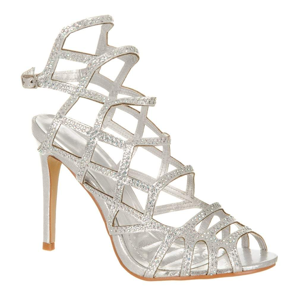 High Stiletto Heel Laser Cut Diamante Trim Shoes