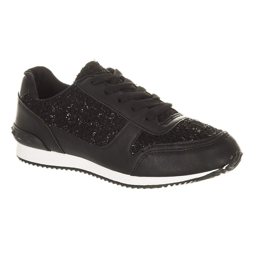 Round Toe Rubber Sole Lace Up Trainer