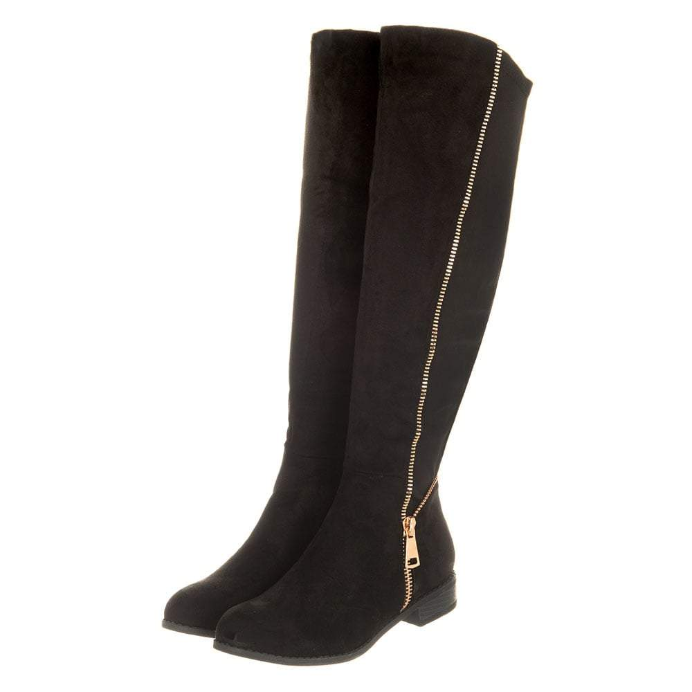 Flat Knee High Boot With Gold Zip Detailing
