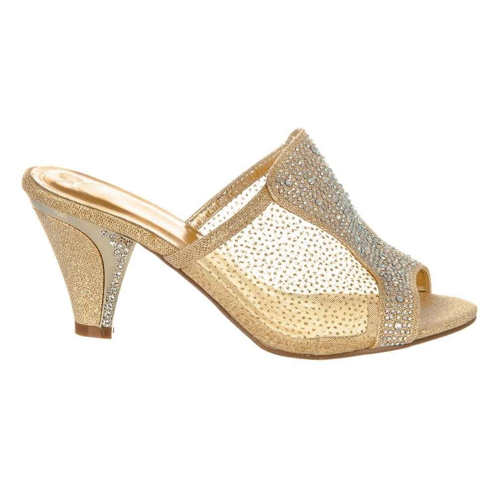 Medium Kitten Heel Mules encased in a diamante Mesh.