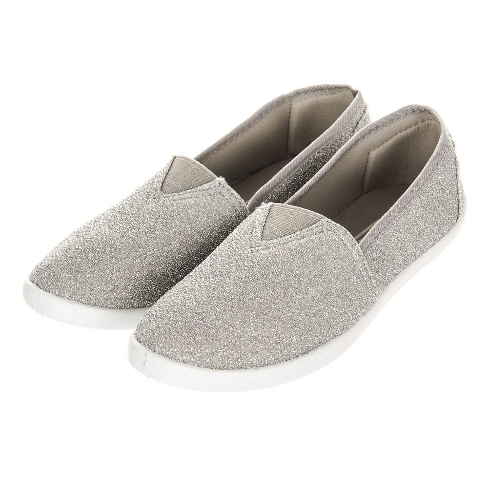 Ladies Flat Slip-On Textile Pumps