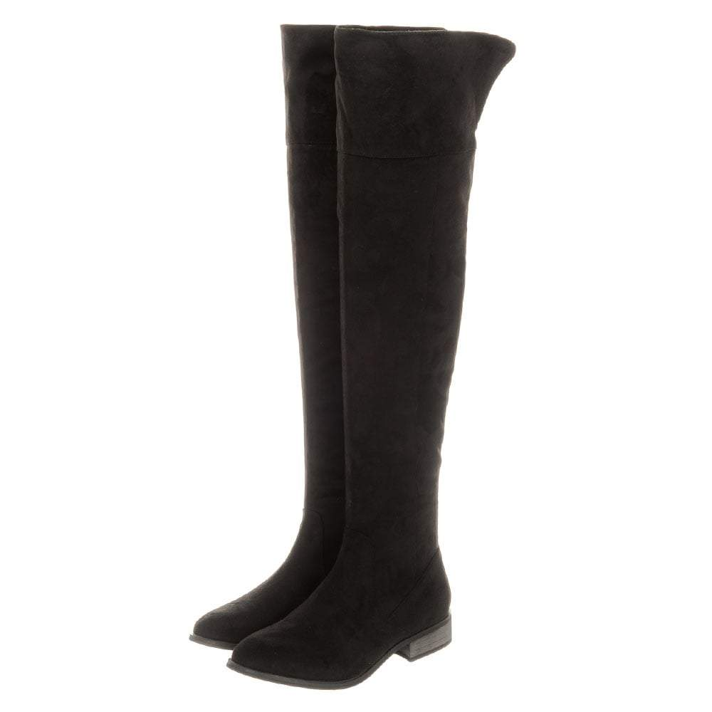 Ladies Over-Knee Low Block Heel Side Zip Boot