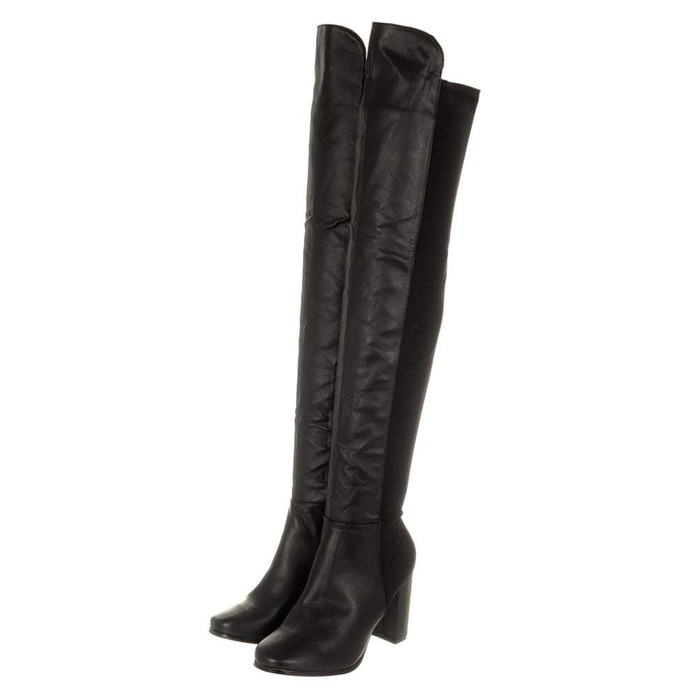 Ladies Medium Block Heel Over Knee Boot With Lycra Back Panel