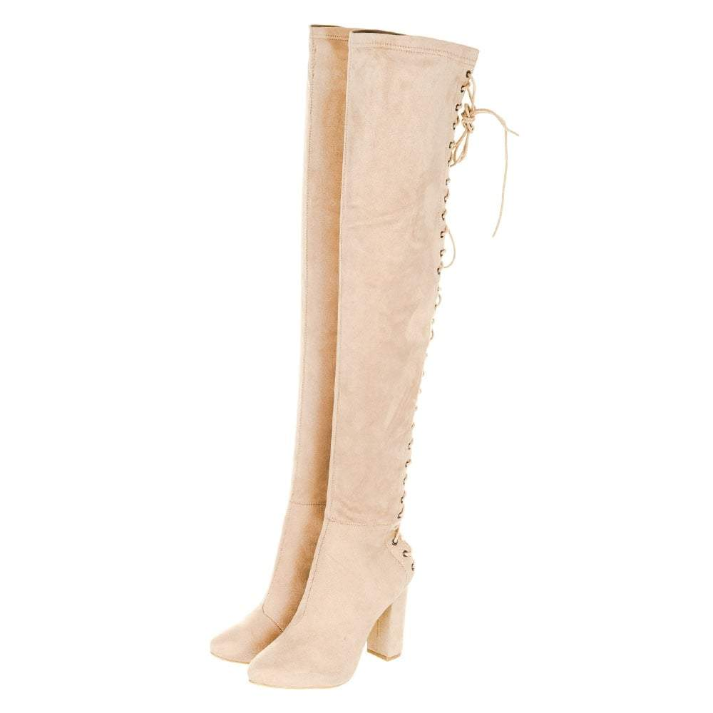 Medium Block Heel Lace Up Back Over-Knee Boot With Side Zip