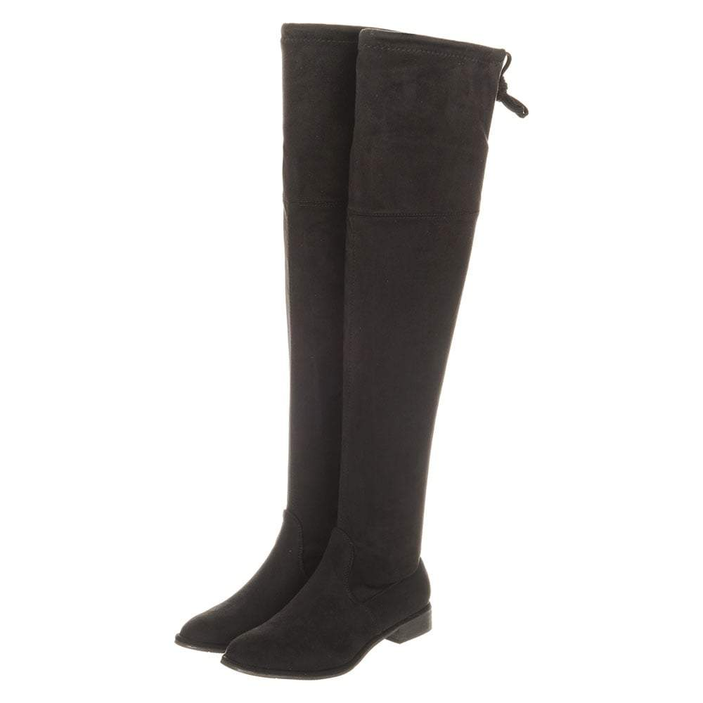 Ladies Flat Block Heel Over-Knee Side Zip Boot