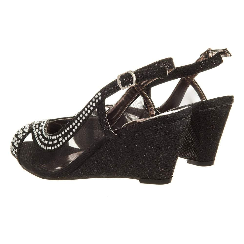 Low Wedge Dress Sandal Sling Back Open Toe Mesh Side And Jewel Detailing