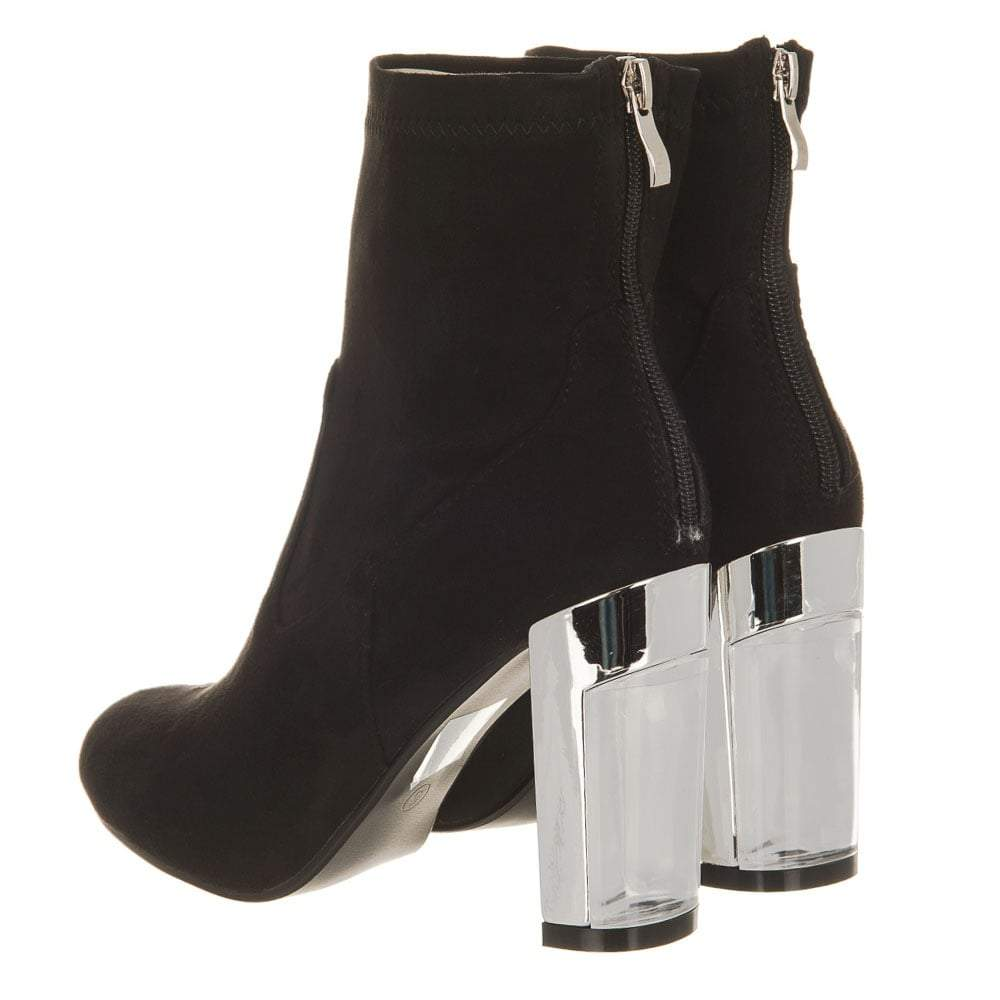 Ladies Metallic Heel Back Zip Ankle Boot