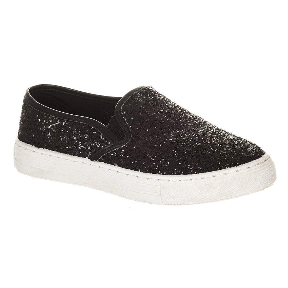 Ladies Flat Glitter Skater Pump With Rubber Sole