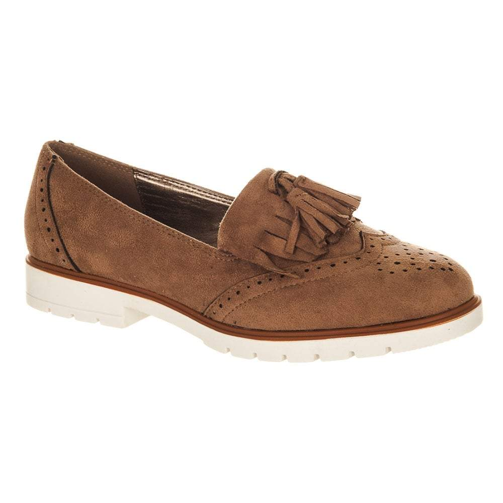 Ladies Slip on Tassel Loafer With Flat Block Heel
