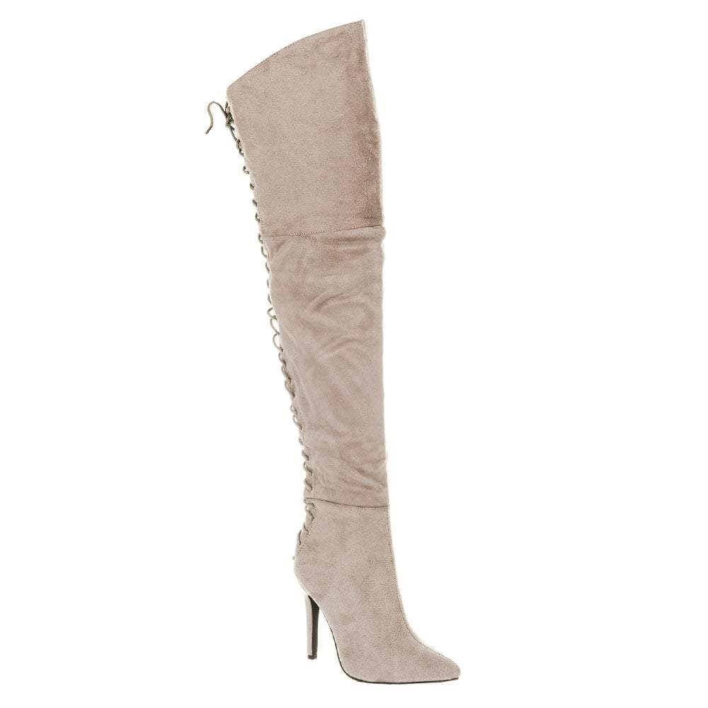 Ladies Over-Knee Stiletto Heel Lace Up Back Boots
