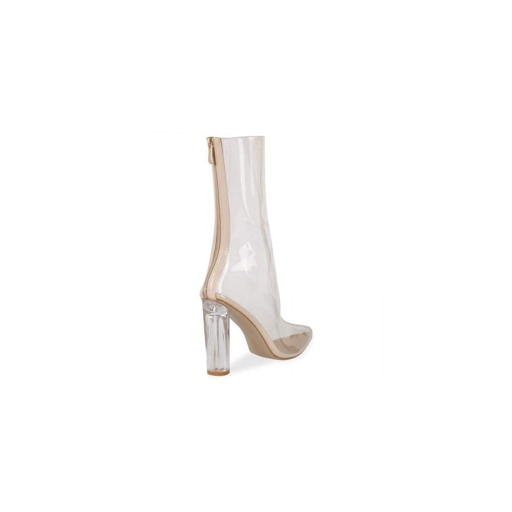 Clarissa Block Perspex Heel Back Zip Clear Ankle Boot