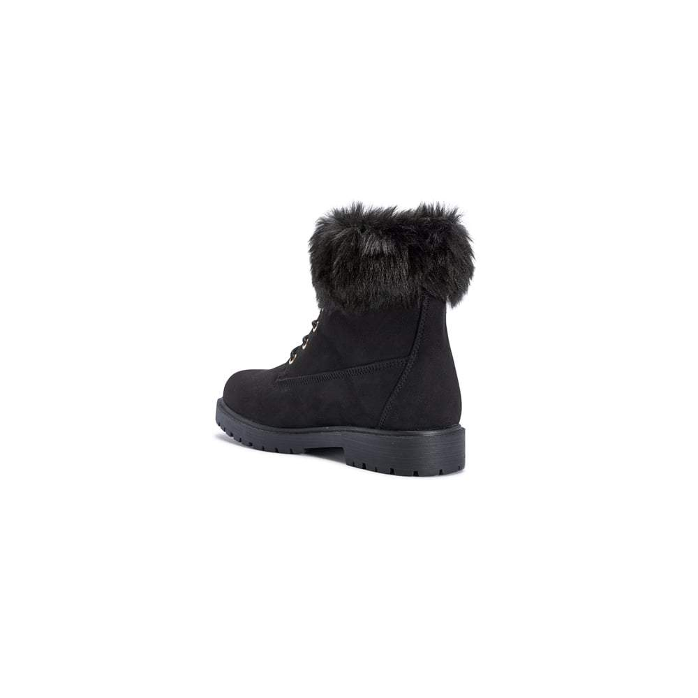 Fur Trim Top Cleated Sole Lace Up Ankle Boot