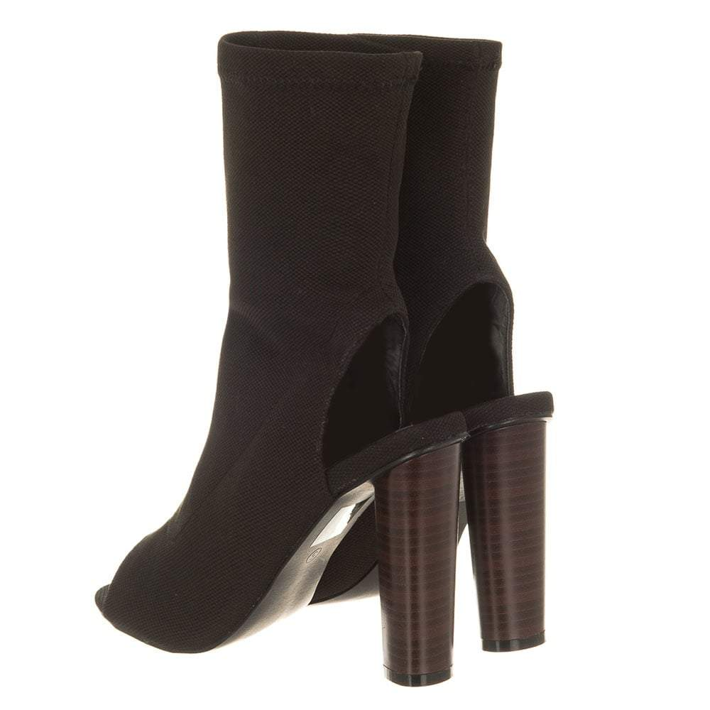 Talia Peep Toe Stacked Block Heel Stretch Ankle Boot