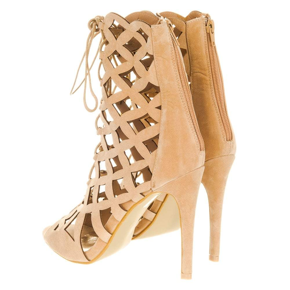 Ladies Laser Cut High Stiletto Heel Lace Up Ghillie Shoes
