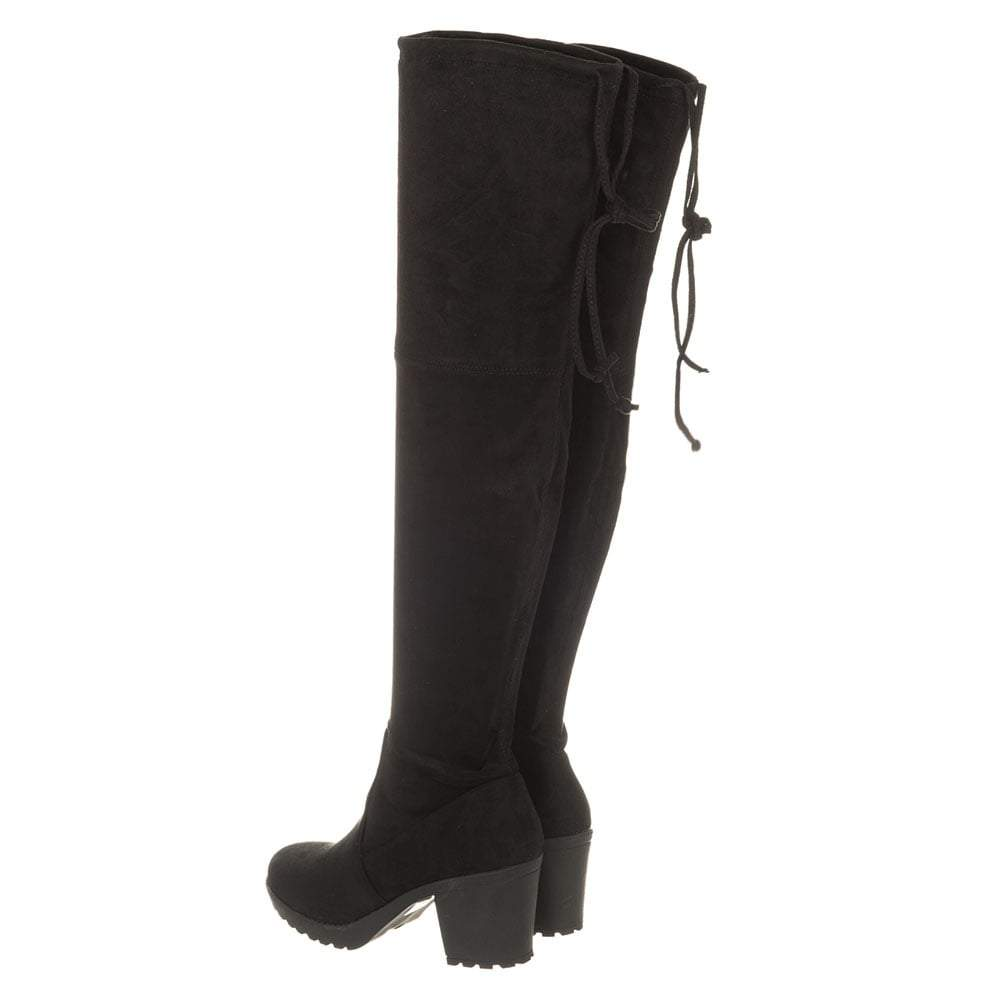 Over The Knee Medium Cleated Block Heel And Small Platform Boot