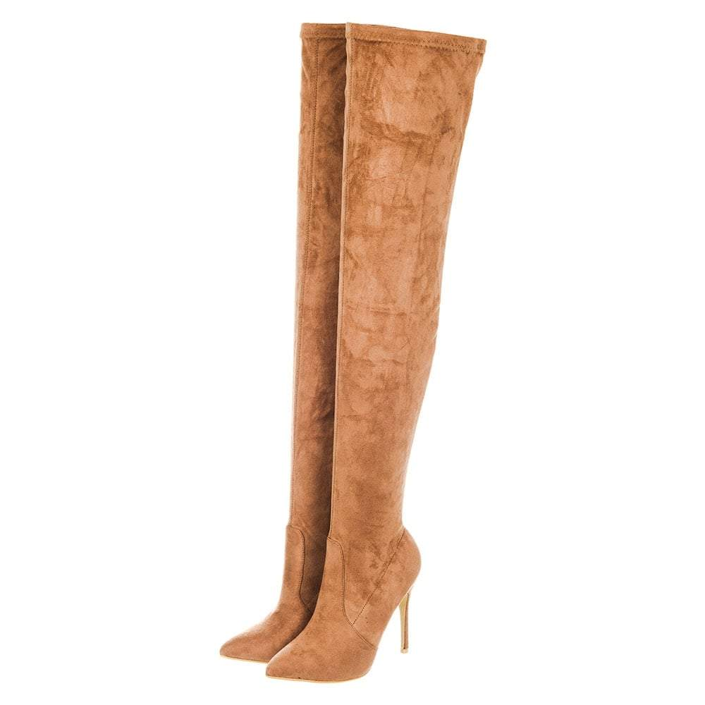 High Stiletto Heel Over The Knee Pointed Toe Boots With Half Side Zip