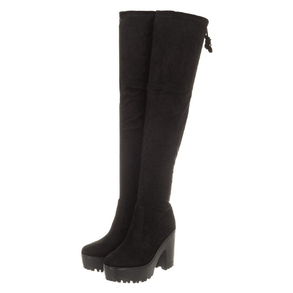 Over-Knee Block Heel And Platform Cleated Sole Boots