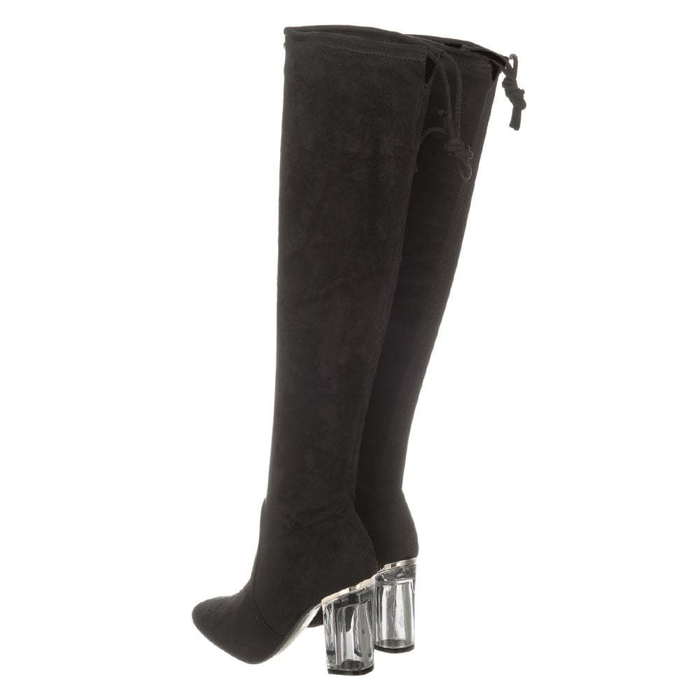 Ladies Block Perspex Heels Over-Knee Faux Suede Boots