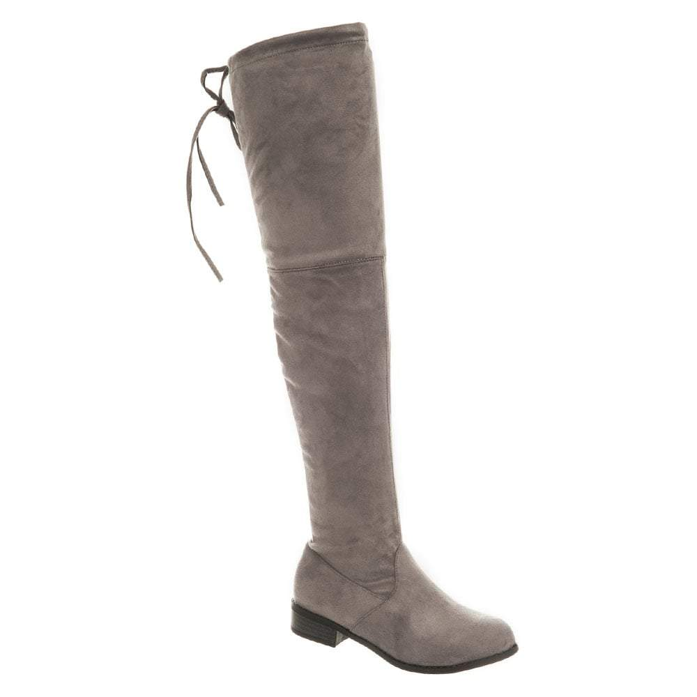 Flat Block Heel Over-Knee Boot With Side Zip