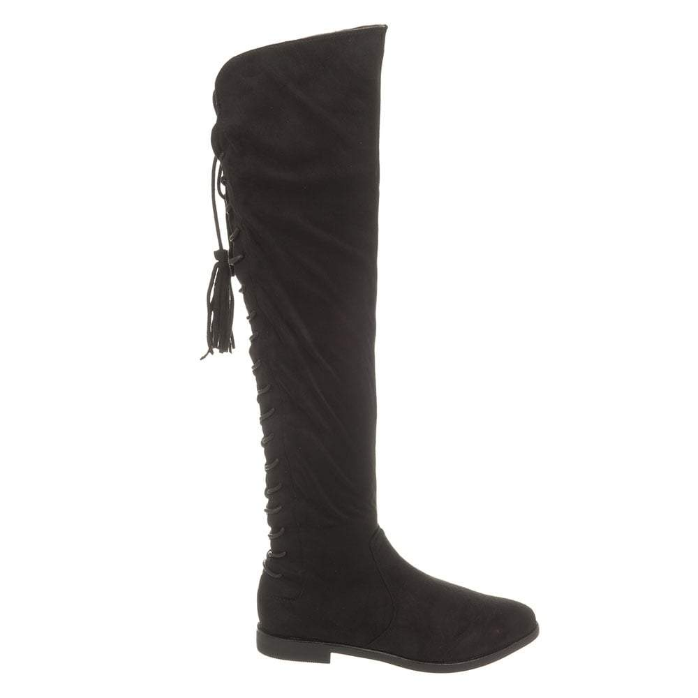 Over-Knee Flat Boot With Lace Up Back