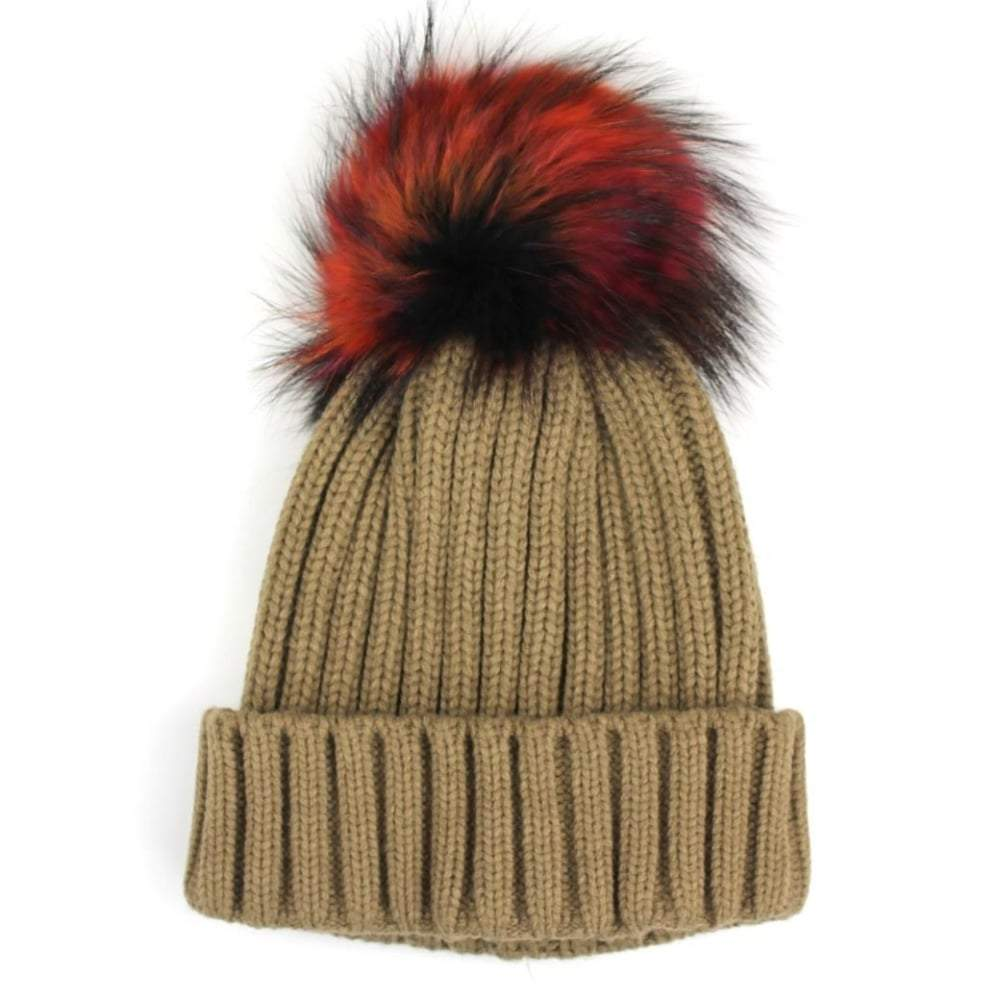 Ribbed Hat With Racoon Fur