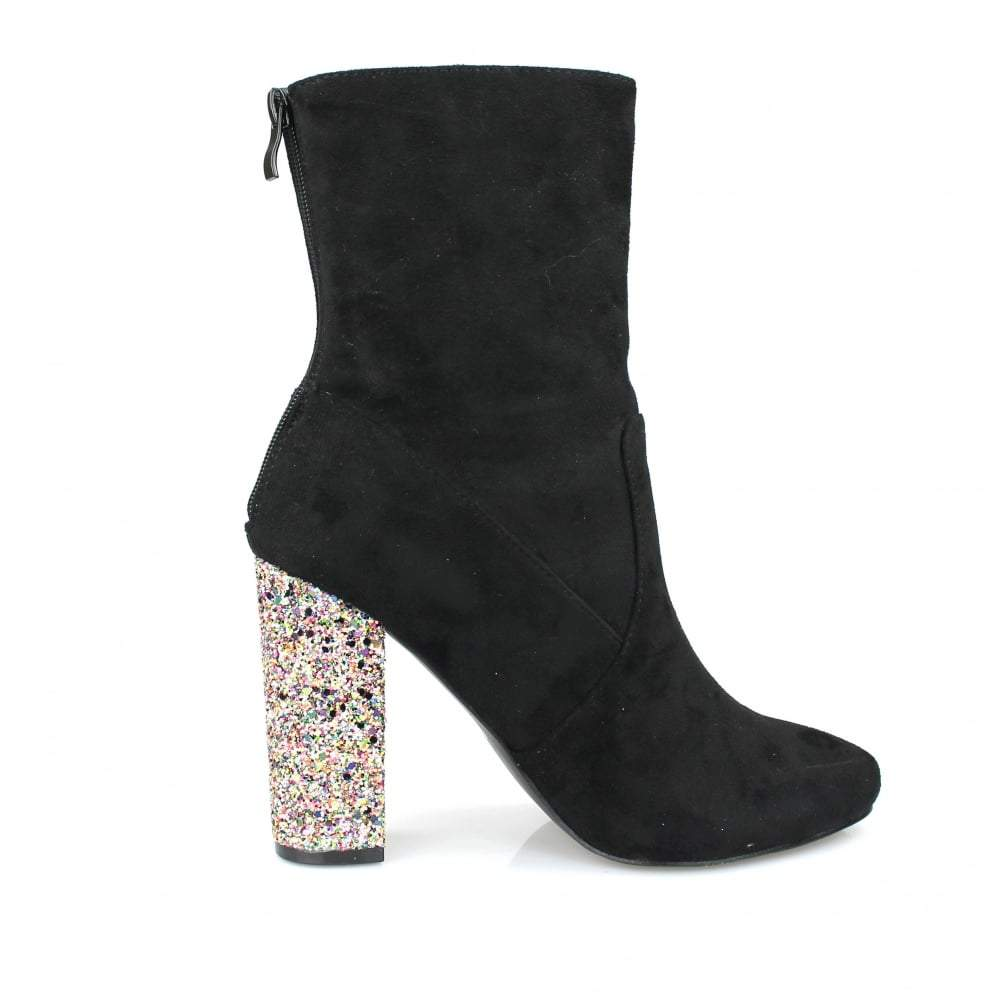 Block Heel Ankle Boot Zip Back