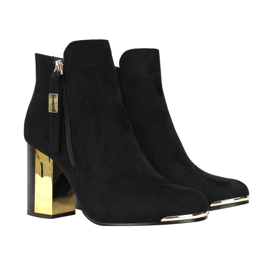 Ankle Boot With Gold Heel Detail