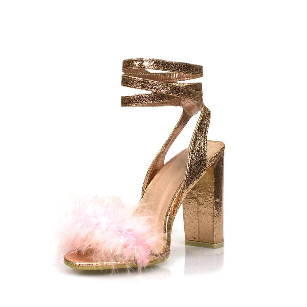 Wrap Around Ankle Strap Fluffy Trim Sandal