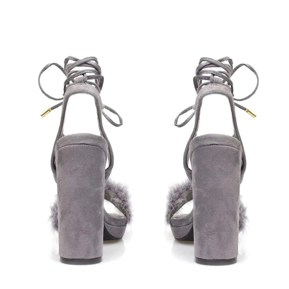 Medium Fur Trim Block Heel Sandal