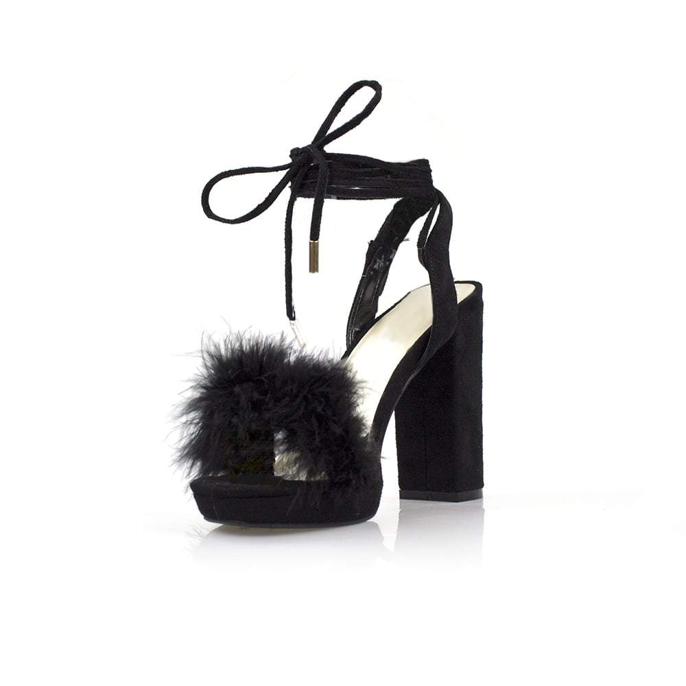 Arianna Medium Fur Trim Block Heel Sandal