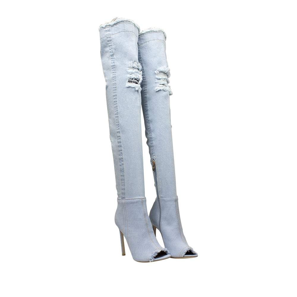 Denim Over The Knee Boots With Open Toe And Stiletto Heel