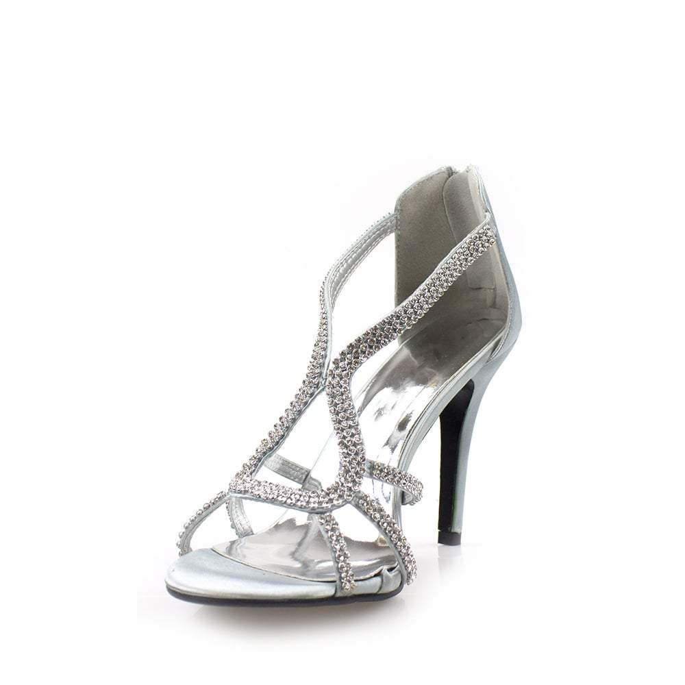 Peep Toe Diamante Satin Sandal