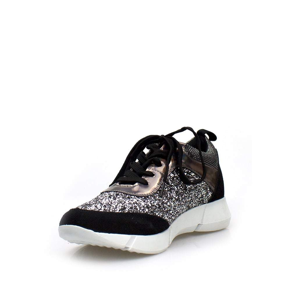 Glitter And Metalic Laceup Trainer