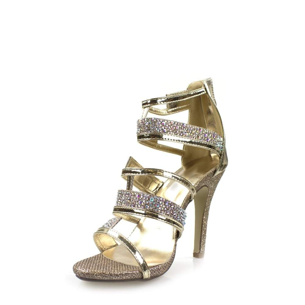 High Heel Strappy Diamante Sandal