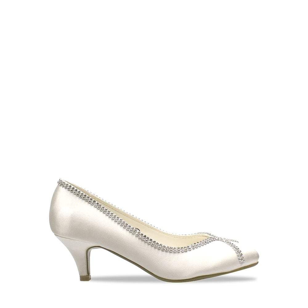 Low Kitten Heel Satin Court Shoe With Diamante Trim