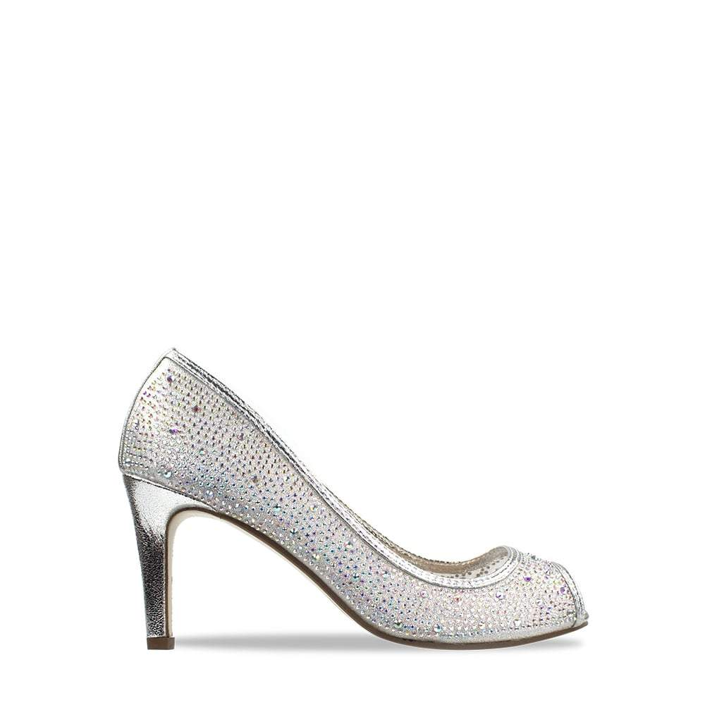 Medium Heel Diamante Mesh Open Toe