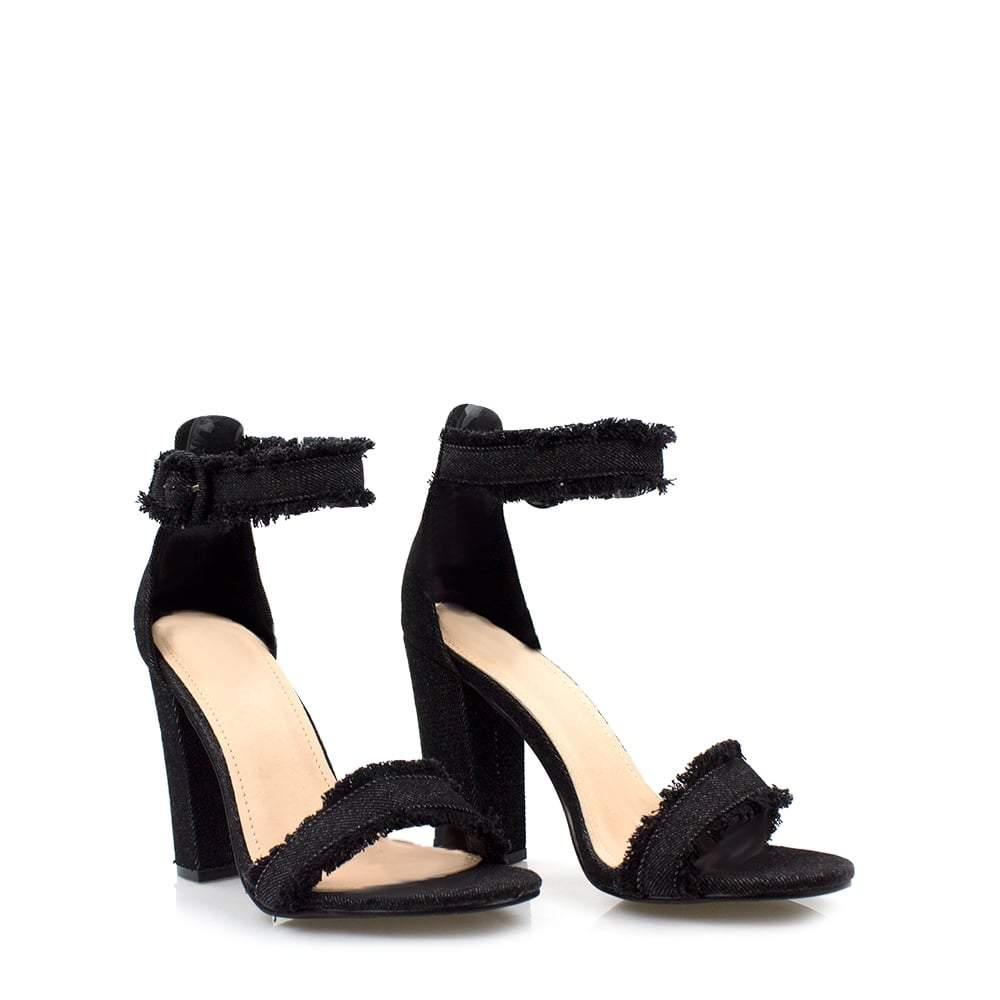Denim Block Heel Jean Sandal With Ankle Buckle and Frayed Edge Detail