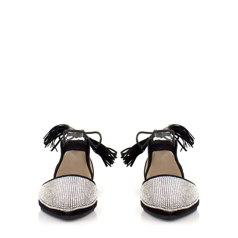 Flat Diamante Shoe Tassel Tie