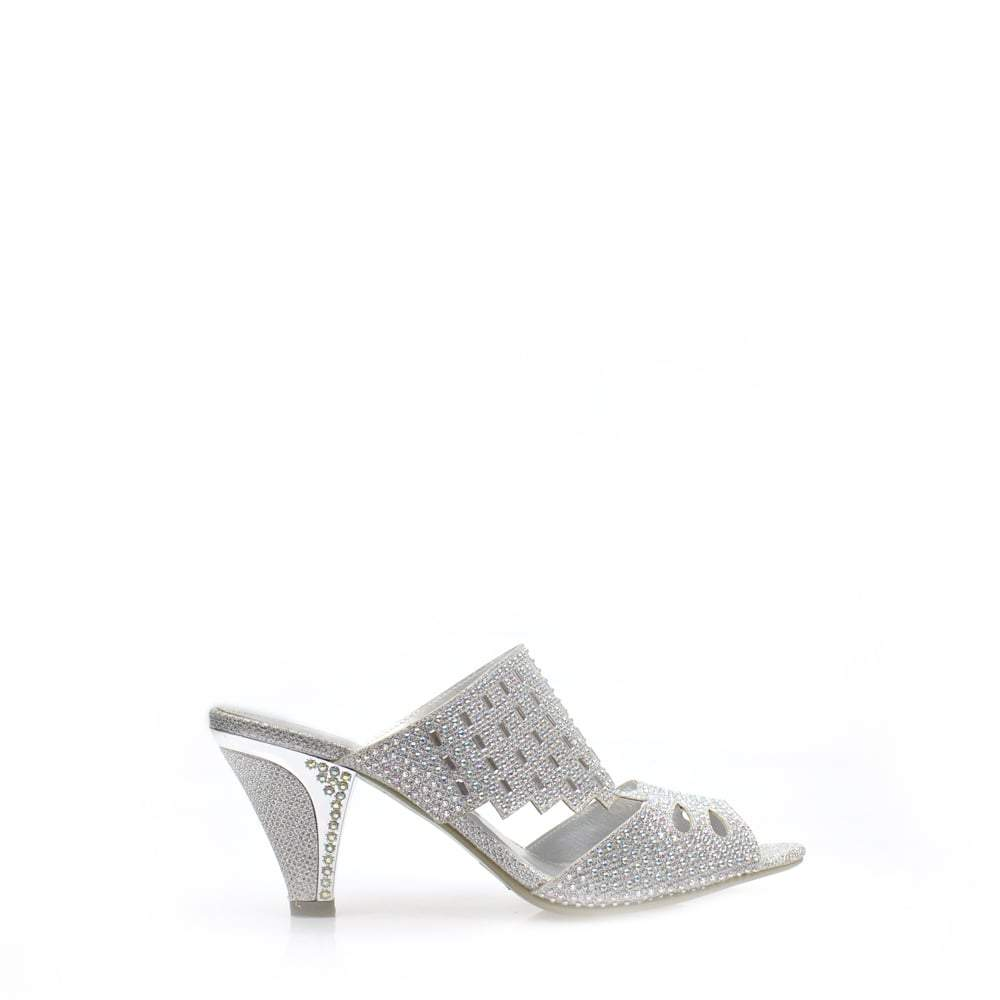 Open Toe Kitten Heel Diamante Mule