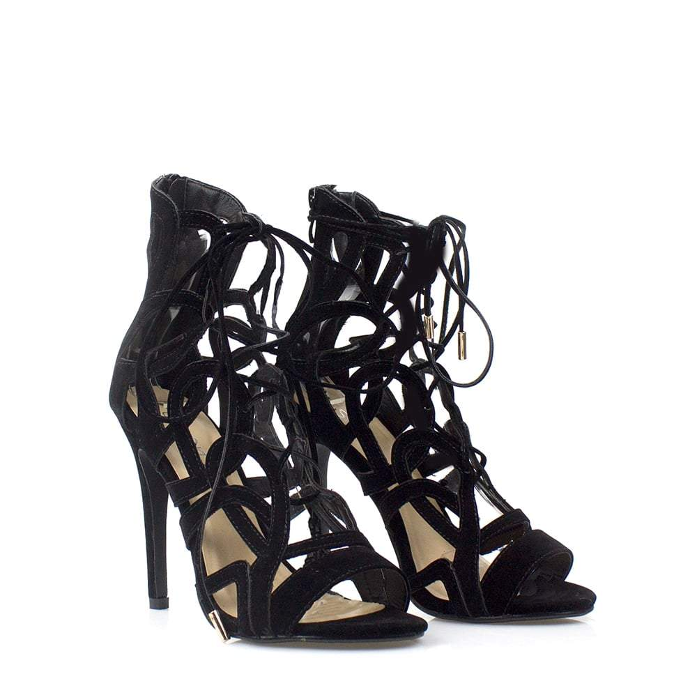 Niamh High Heel Open Toe Ghillie Sandal Zip Back