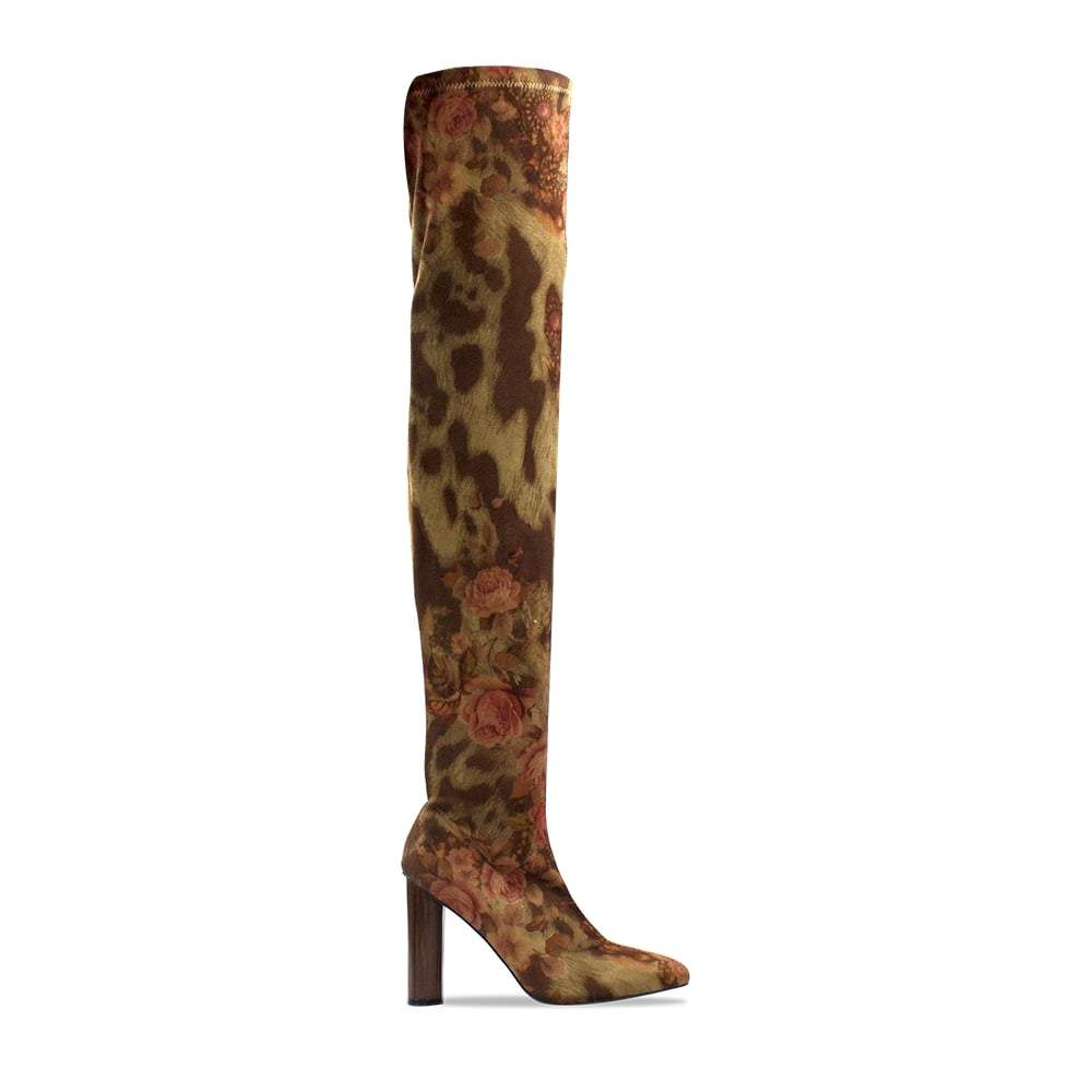 Floral Print Over The Knee Boot