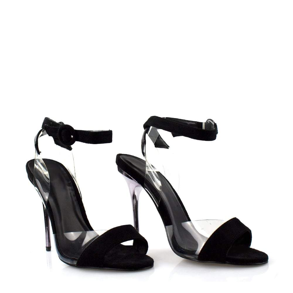 High Stiletto Heel Open Toe Ankle Strap Perspex Sandal
