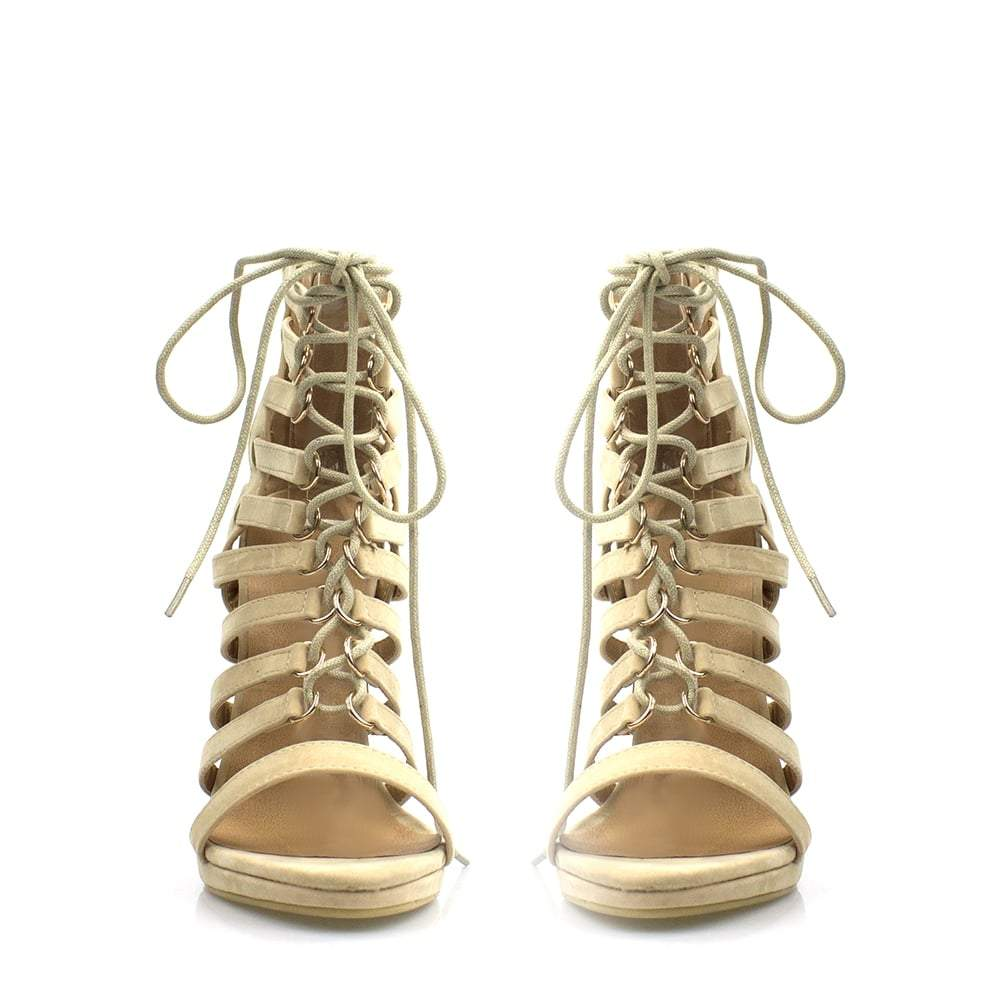 High Heel Open Toe Ghillie Ankle Boot
