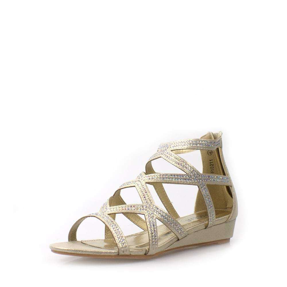 Criss Cross Diamante Strap Sandal
