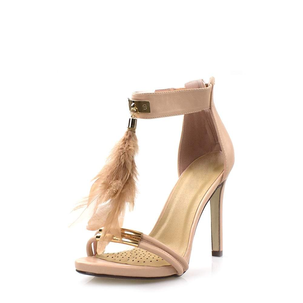 Feather High Heel Ankle Strap Sandal