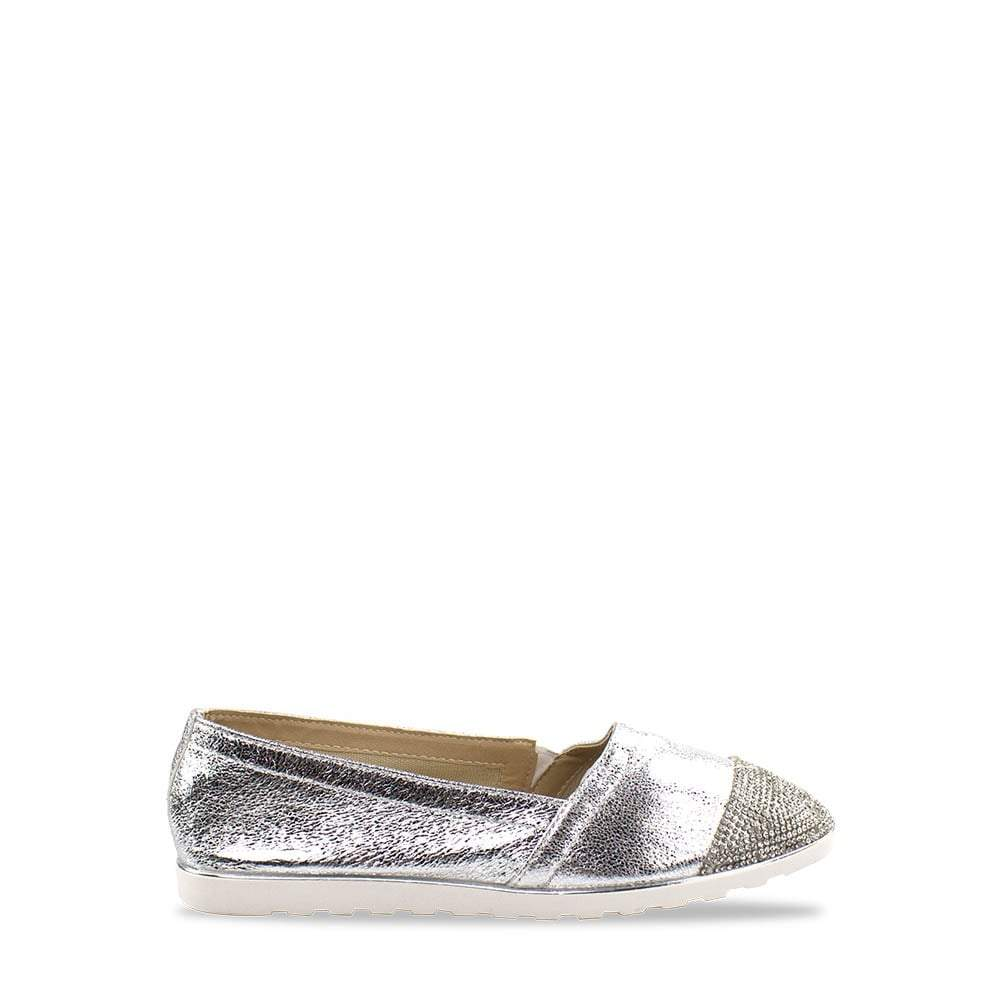 Flat Diamanté Slip On Pump With Cleated Sole