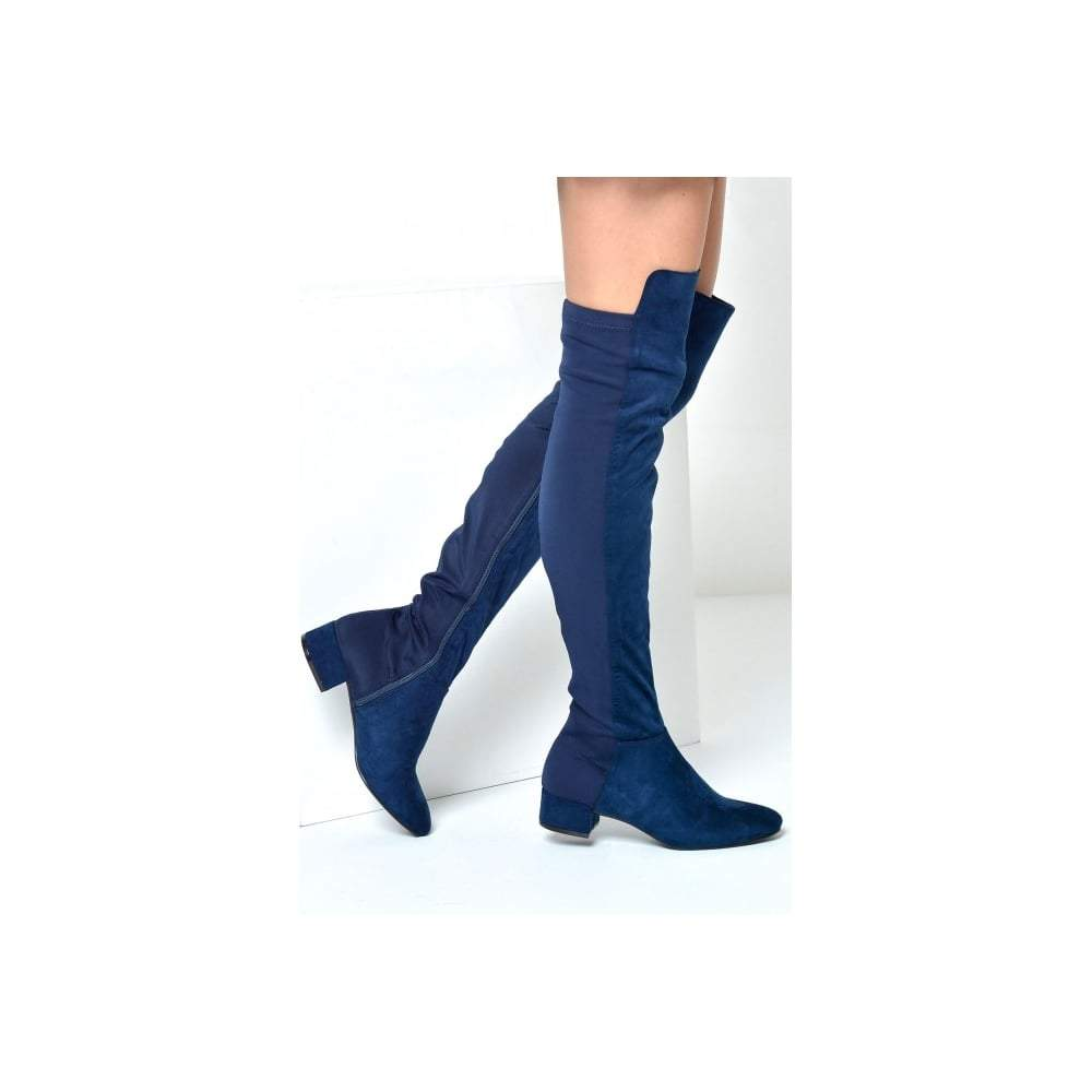 Over Knee Flat Block Heel Lycra Back Panel Boot